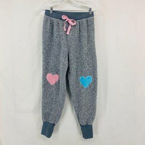 Fleece Joggers Pink and Blue Heart Patch Knees